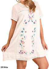 Umgee Floral Embroidered Short Sleeve A-Line Woven Tunic Dress Plus Sizes