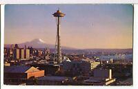 A New Landmark, THE SPACE NEEDLE, and Mt. Rainier @1962, Seattle WA Postcard