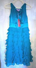 *New Monsoon Womens Dress Size 6 petite Silk LILY Sleeveless Teal Frill Tiered