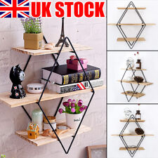3 Tier Floating Shelves Metal Wood Wall Shelf Hanging Decor Storage Display Rack