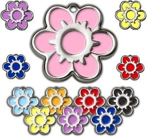 Flower Shape 30mm Colour Personalised Engraved Tags Dog Cat Pet ID Discs Disks