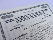 Stock Certificate TREASURY MOUNTAIN MINING CO 1885 Uncanceled VF condition 118