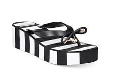 KATE SPADE Rhett Wedge Flip Flops Black/White Stripe  Size 9  NWOB