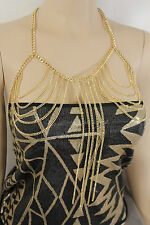 WOMEN GOLD MULTI CHAIN LINKS METAL BODY JEWELRY LONG FRINGES NECKLACE TOP BRA