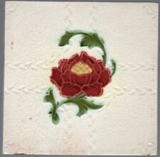 Alfred Meakin Ltd c1900 Red & Yellow Peony - Antique Floral Majolica Tile