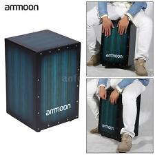 ammoon Cajon Hand Drum Adult Box Drum with Stings Rubber Feet E2G4