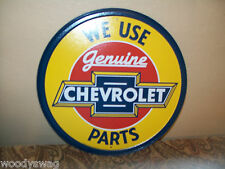 We Use Chevrolet Genuine Parts New Tin Metal Sign Round 12 inch