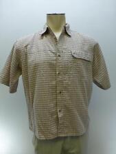 The North Face brown plaid button up short sleeve camp shirt squareT mens Medium