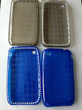 BLING SILICONE RUBBER TPU GEL CASE COVER SKIN FOR APPLE iPHONE 3 3GS - 2 COLOURS