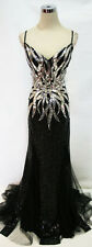 NWT MacDuggal Black / Silver $498 Prom Evening Gown 10