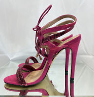 KURT GEIGER Size 5 Lace Up Cage Sandal Heels Pink Suede Stilettos Blogger Fave