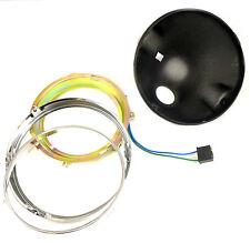 Motorcycle Matte Black Headlight Bucket Ring Custom Cruiser Chopper Front Light