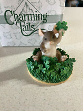 """Charming Tails Fitz and Floyd figurine """"Good Luck"""" Mib Artist Signed Nice"""
