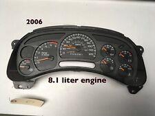 2006 Chevy 2500  3500 8.1 liter Speedometer cluster ,15101855