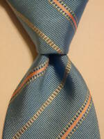 CHURCH'S Men's 100% Silk Necktie ITALY Designer STRIPED Blue/Pink/White GUC Rare