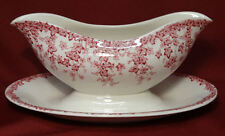 Crown Ducal Early English Ivy (Joy) Pink Gravy Boat w/Attached Liner