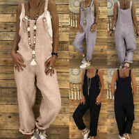 Women Linen Long Romper Trousers Playsuit Dungarees Harem Pants Halter Jumpsuit