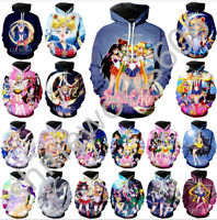 MenWomen 3D Print Anime Sailor Moon Casual Hoodie Sweatshirt Jacket Pullover Top