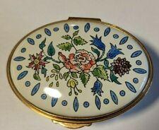 "Kingsley Enamels ""Floral Box"" Beautiful Hand Painted Oval Enamel Box"