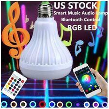 Luz bombilla color RGB LED E27 12W Lampara altavoz audio musica inteligente B1L4