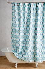 Anthropologie Shower Curtain Bunglo Granada turquoise Geo Silver Grommet NEW