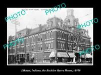 OLD POSTCARD SIZE PHOTO OF ELKHART INDIANA THE BUCKLEN OPERA HOUSE c1910