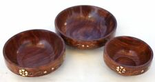 Set of three decorative wooden bowls with brass heart pattern inlaid