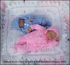 "REBORN BABY DOLL OR SCULPT KNITTING PATTERN B2 SHAWL & SUIT 7-12"" GIRL OR BOY"