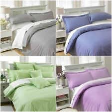 LUXURY GINGHAM CLASSIC CHECK DUVET COVER POLY COTTON QUILT BEDDING SET ALL SIZES