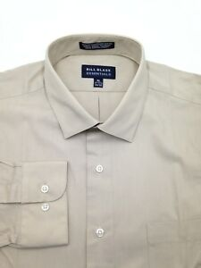 $94 Bill Blass Men Regular-Fit Beige Long-Sleeve Dress Shirt Size 15-15.5 32/33