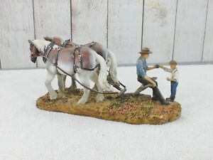 G SCALE / (2) LARGE HORSES PULLING A PLOW / with (2) INDIVIDUALS