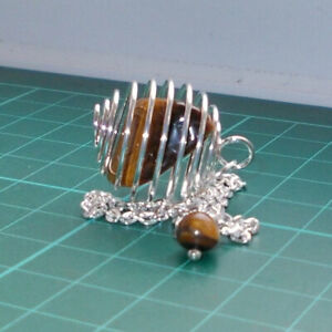 Auction Silver Plated Spiral Cage Dowsing Pendulum with Tiger Eye Tumblestone