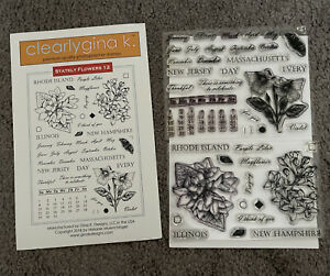 Gina K Designs STATELY FLOWERS 12 Clear Stamps