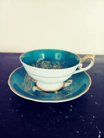 CDGC Very Fine China Green with Gold Trim Tea Cup & Saucer
