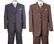 Men's Fashion Wool Feel Suit ,Stripe 3 Button Jacket With 5 Button Vest 5802V 7
