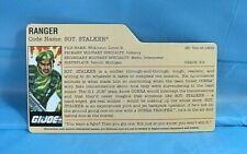 GI Joe Cobra 2008 Sgt. Stalker 25th Anniversary DVD Battles File Card.