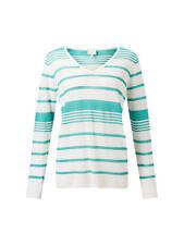 East Stripe V Neck Jumper, Lagoon Women Knitwear - Size XL UK  - BNIP
