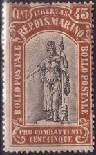REPUBBLICA DI S. MARINO - RARO FRANCOBOLLO DA 45 CENT. + 5 - 1918 - PRO COMBATT.