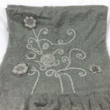 Artistic Accents Grey Embroidered  Wool Acrylic Throw Crochet Flower Warm Fuzzy