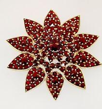 14kt Yellow Gold Rose Cut Bohemian Garnet Pin Brooch Solid