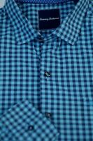 Tommy Bahama Men's Blue Navy Check Luxury Cotton Casual Shirt L Large