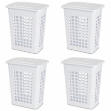 Sterilite Rectangular LiftTop Plastic Clothes Laundry Hamper Bin w/ Lid (4 Pack)
