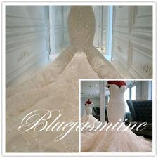 HOT Mermaid White Ivory Bridal Gown Wedding Dress Custom Size 6 8 10 12 14 16++