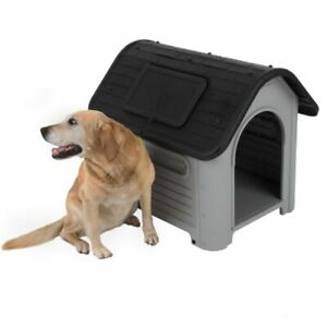 Plastic Dog Kennel Cat House Polly - 2 Sizes Grey