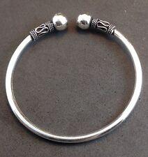 Tribal Artisan Womens Sterling Silver 925 Bangle Open Cuff Bead Jewelry Bracelet
