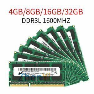 32GB 16GB 8GB 4GB 2GB DDR3L 1600MHz 1.35V SODIMM 204Pin Memory RAM Fr Micron LOT