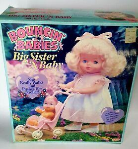 Bouncin' Baby Big Sister N Baby Galoob 1990 2 dolls and stroller Blonde