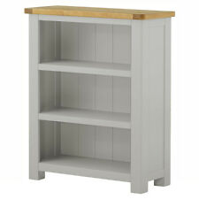 Padstow Grey Painted Small Bookcase / Solid Wood Painted Oak Low Bookcase / New