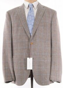 Luciano Barbera NWT Sport Coat 44L Brown W/ Baby Blue Plaid Wool Linen $1,795