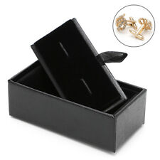 Men Cufflinks Tie Clip Ring Storage Box Faux Leather Organizer Display Cuff Case